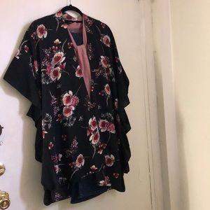 Jack & Missy black floral kimono one sz fit all
